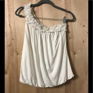 White Bubble One Shoulder Top Forever 21 Size S